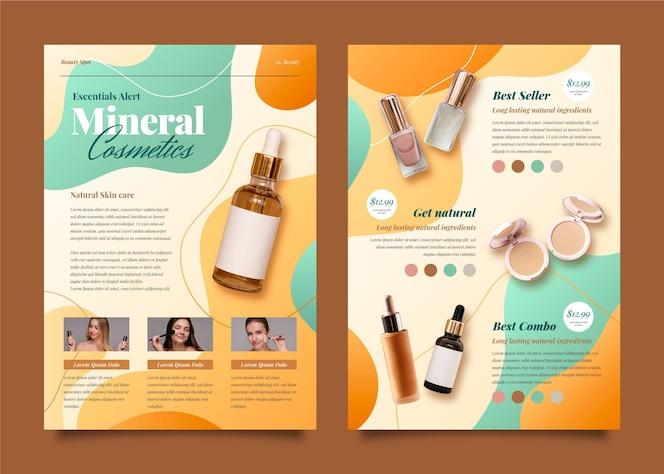 Catálogo de produtos de beleza gradiente com foto