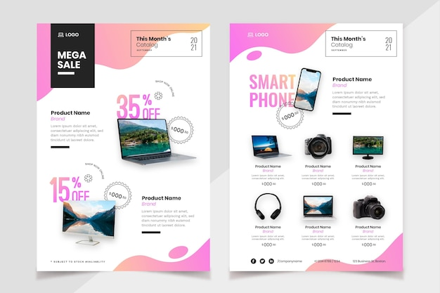 Catálogo de produtos de tecnologia gradiente com foto Vetor grátis