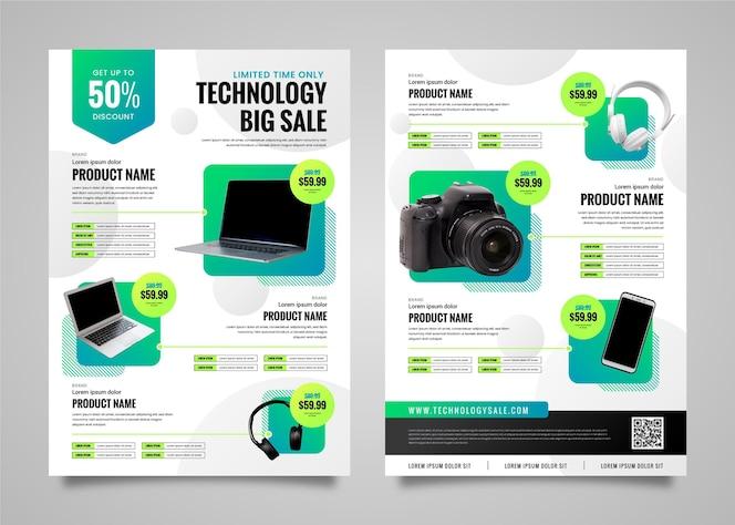 Catálogo de produtos de tecnologia gradiente com foto