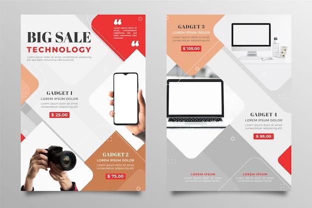 Catálogo de produtos de tecnologia plana com foto