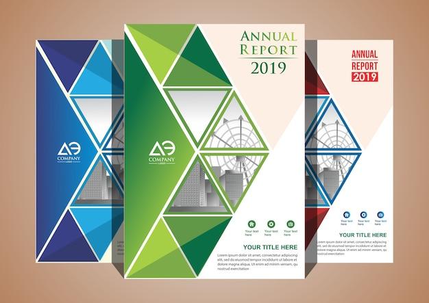 Catálogo de revistas brochura de layout de capa com 3 cores