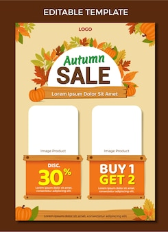Catálogo mailer design template vetor de venda de outono