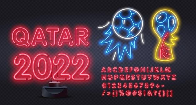 Catar de néon com alfabeto em modelo de design de fundo do copo de futebol de torneio de futebol estilo neon ...