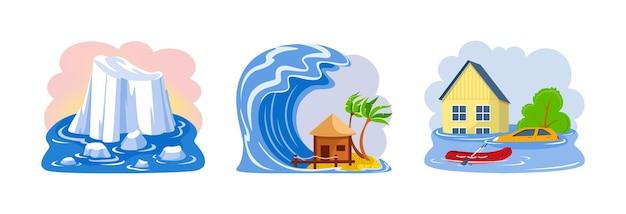 Catástrofes naturais inundam tsunami derretendo geleiras