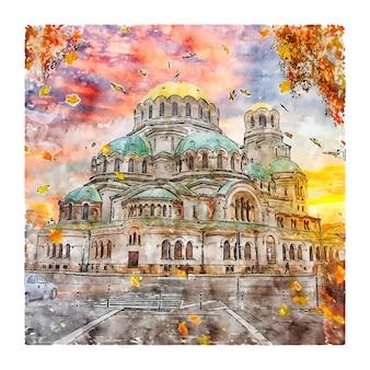 Catedral de alexandre nevsky sofia bulgária desenho em aquarela ilustração desenhada à mão