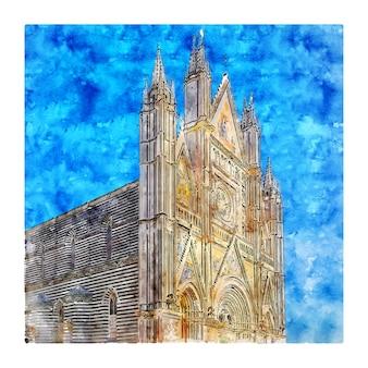 Catedral de orvieto, itália. esboço em aquarela.