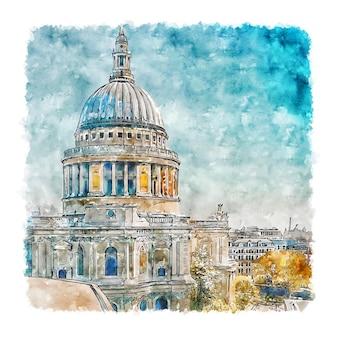 Catedral de são paulo, inglaterra, esboço em aquarela, ilustrações desenhadas à mão