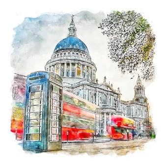 Catedral de são paulo, londres, esboço em aquarela, ilustrações desenhadas à mão