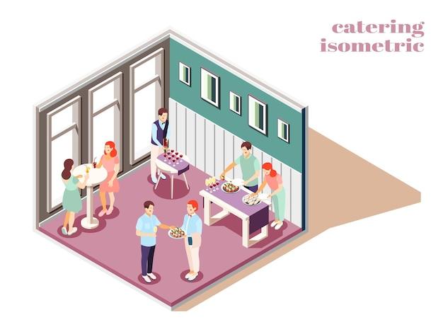 Catering e banquetes em ambientes fechados, composição isométrica com ilustração de alimentos e bebidas