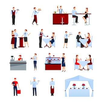 Catering no conjunto de caracteres de restaurante com mesas e ilustração em vetor plana garçons isolado