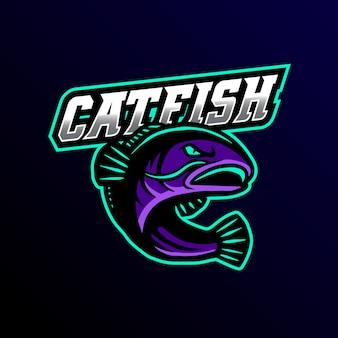 Catfish mascote log esport jogos ilustração