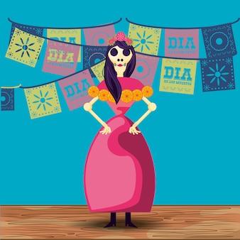 Catrina caveira dia da festa morta