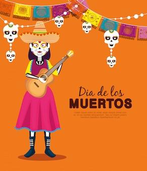 Catrina com chapéu e violão com banner de festa