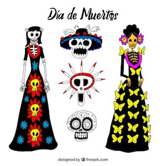 Catrina e crânios mexicanos desenhados a mão
