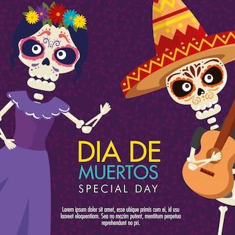 Catrina e esqueleto com guitarra para o dia do evento morto