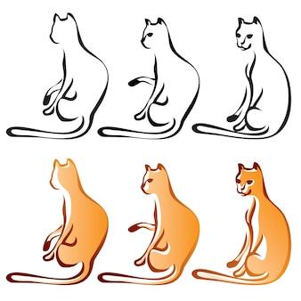 Cats line art color, set