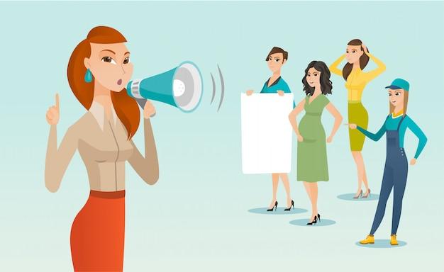 Caucasiano, branca, feminista, shouting, alto-falante