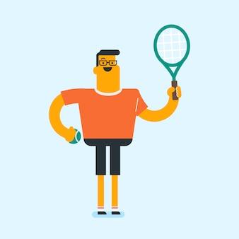 Caucasiano, branca, jogador tênis, com, um, raquete tênis