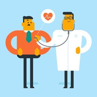 Caucasiano médico ouvindo o coração do paciente