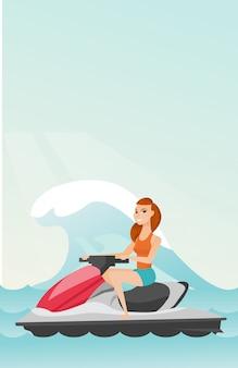 Caucasiano, mulher, montando, ligado, scooter água, em, a, mar
