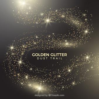 Cauda de poeira brilhante em estilo dourado