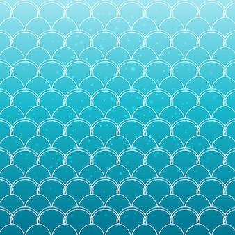 Cauda de sereia em fundo gradiente na moda. cores turquesas e azuis. Vetor Premium