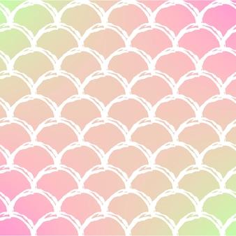 Cauda de sereia em fundo gradiente na moda. pano de fundo quadrado com ornamento de cauda de sereia. transições de cores brilhantes. bandeira e convite da escala de peixe. padrão subaquático e mar. cores quentes de pêssego.