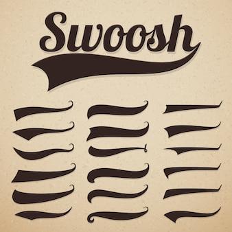 Caudas de mensagens de texto retrô swooshes swishes, swooshes e swashes para tipografia vintage de beisebol
