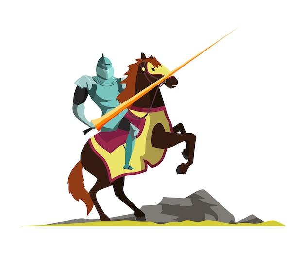 Cavaleiro atacando a cavalo, cenário de torneio medieval.