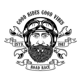 Cavaleiro barbudo. bons passeios boas vibrações. cabeça de homem barbudo no capacete da motocicleta. elemento para emblema, sinal, cartaz, camiseta. ilustração