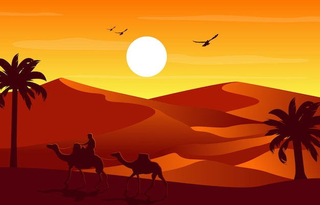 Cavaleiro camelo atravessando vasta colina deserto ilustração paisagem árabe
