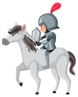 Cavaleiro cavalgando personagem de desenho animado em fundo branco