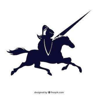 Cavaleiro cavalo preto desenhado o ícone do vetor