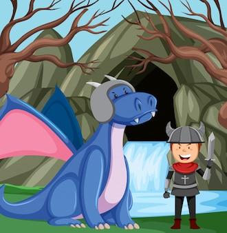 Cavaleiro com dragão na floresta