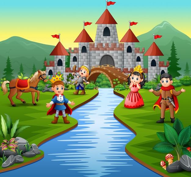 Cavaleiro com princesa e príncipe em uma paisagem do castelo