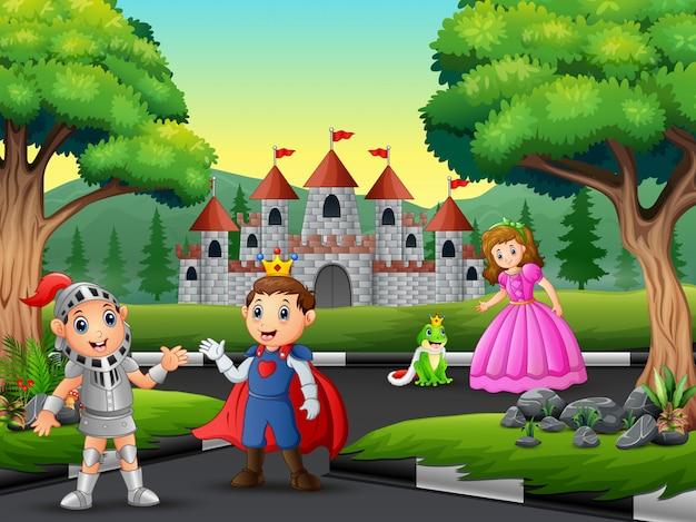 Cavaleiro com princesa e príncipe na estrada para o castelo