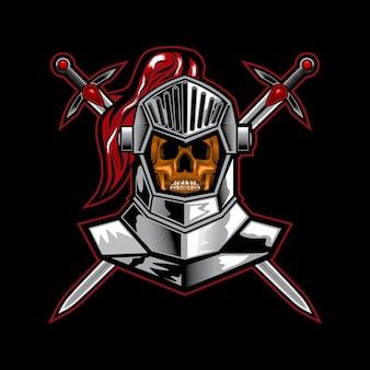 Cavaleiro crânio cruz espada vector ilustração arte
