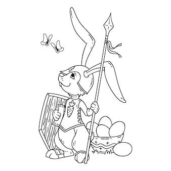 Cavaleiro de coelho com uma lança e um escudo.