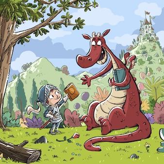 Cavaleiro de criança com dragão e livro