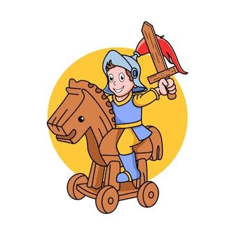 Cavaleiro de desenho animado monta um brinquedo de cavalo de madeira