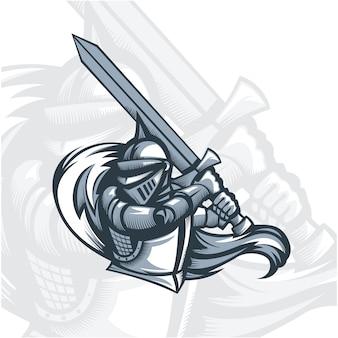 Cavaleiro de paladino monocromático com espada.