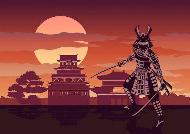 Cavaleiro do japão chamado samurai pose na frente do castelo