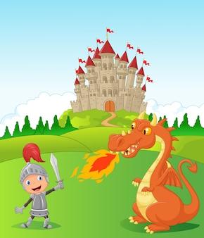 Cavaleiro dos desenhos animados com dragão feroz