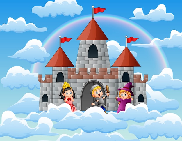 Cavaleiro e bruxa na frente do castelo nas nuvens