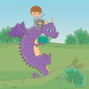 Cavaleiro e dragão de conto de fadas