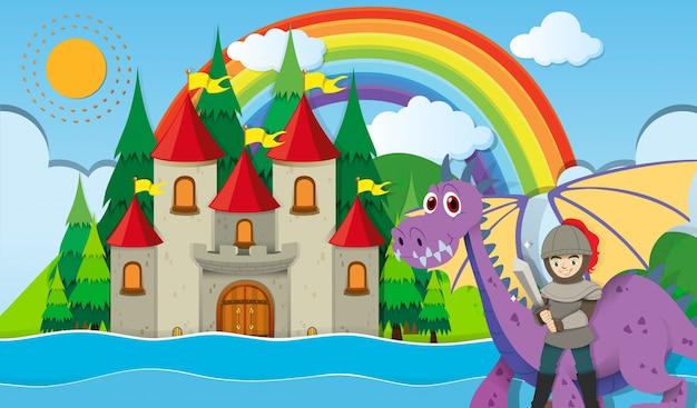Cavaleiro e dragão no castelo