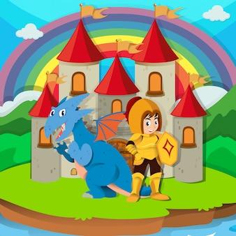 Cavaleiro e dragão no palácio
