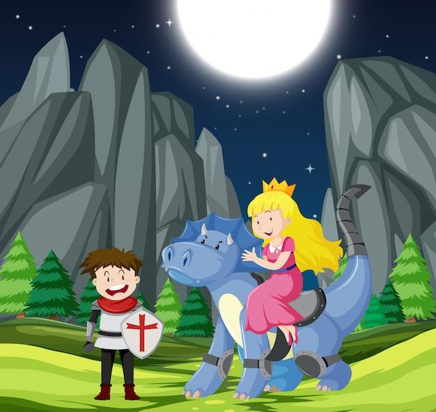 Cavaleiro e princesa na floresta