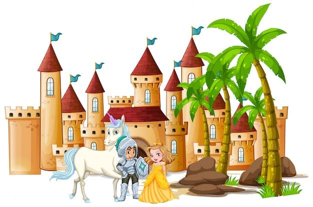 Cavaleiro e princesa no castelo