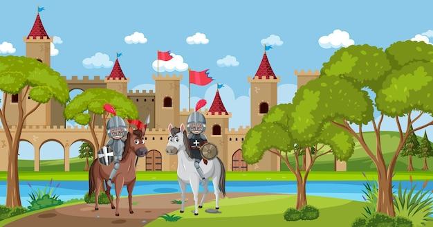 Cavaleiro em frente ao castelo